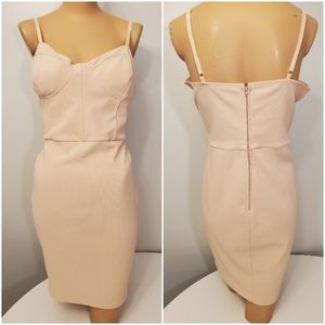 Charlotte Russe Ribbed Nude/Pink/Salmon Dress